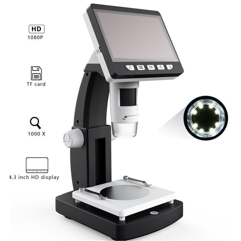 Mustool 1000x microscópio digital 4.3 polegadas hd 1080 p portátil desktop lcd microscópio digital ajustável 10 línguas 8 led g710