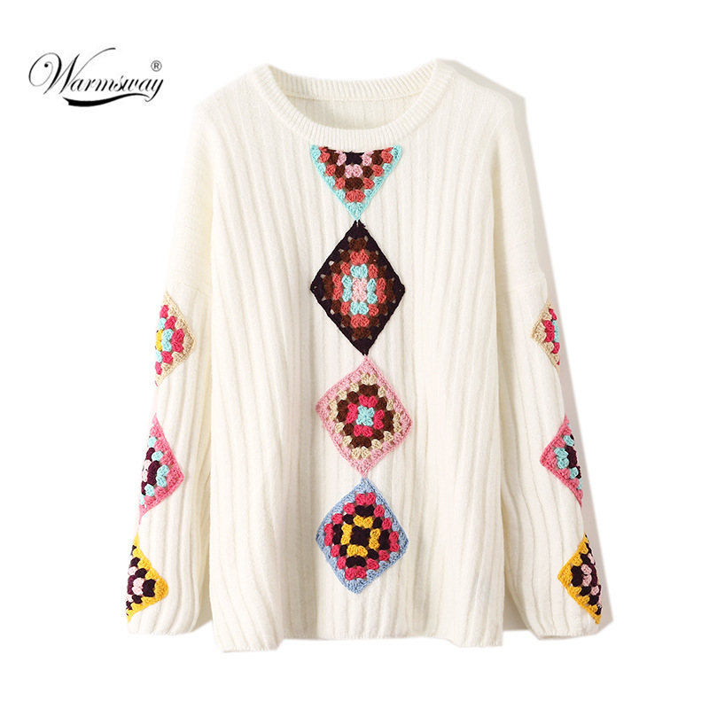 Retro Women Oversized Sweater 2021 Spring New Argyle Embroidery O Neck Loose Sweater Handmade Hook Flower Pullovers Tops C-146
