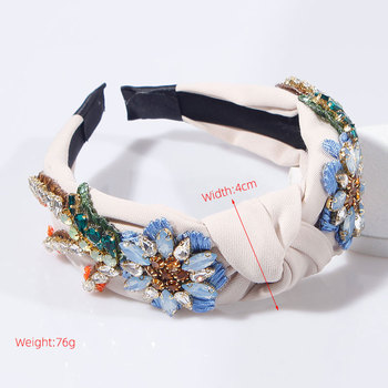 Embroidery Flower Crystal Rhinestone Top Knotted Hairbands 6