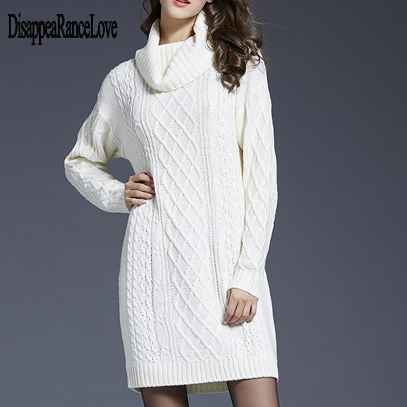 Sweater Dress Women Winter Clothes Loose Long Sleeve Oversize Jumper Shirt Tops Dress Robe Pull 2019 New Autumn Pullover