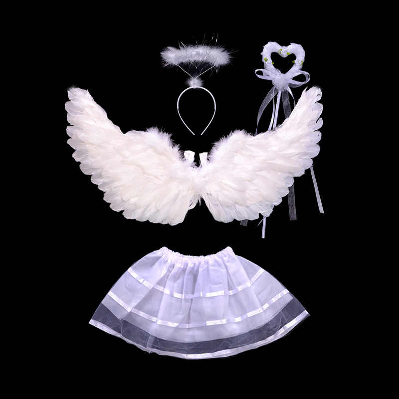 Baby Kids Angel Feather Wings Headband Wand For Photo Props Party Costume Dress