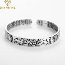 XIYANIKE-Bracelet manchette en argent Sterling 925 pour femmes, bijou religieux, Vintage Simple, fleur de Lotus, accessoire de fêtes thaï