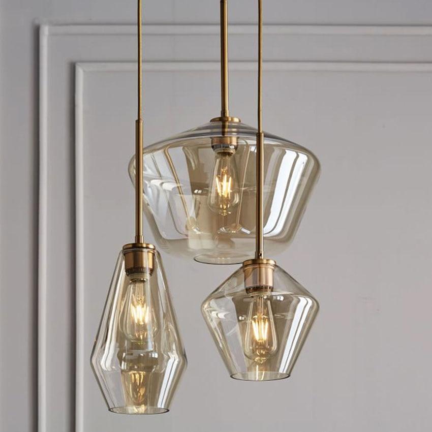 Nordic Loft Retro Dining Glass Hanging Lamp Living Bedroom Indoor Pendant Lights Fixtures Staircase Corridor Lighting Luminaire