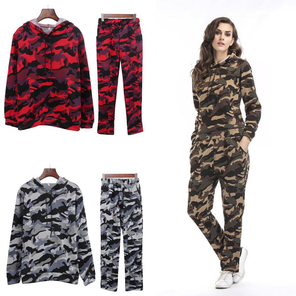 2pcs/set Autumn Winter Women Camouflage Thicken Sweatshirt Suit Long Sleeve Pullover Coat And Elastic Waist Pant Sudaderas Suit