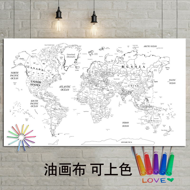 DIY World Map Poster Size Wall Decoration Large Map Of The World 100x59 Waterproof Canvas Map Color By Yourself