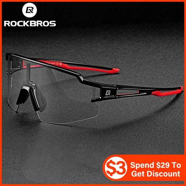 ROCKBROS Photochromic Cycling Glasses Bicycle Glasses Sports Men's Sunglasses MTB Road Bike Eyewear Protection Goggles 3 Colors 1