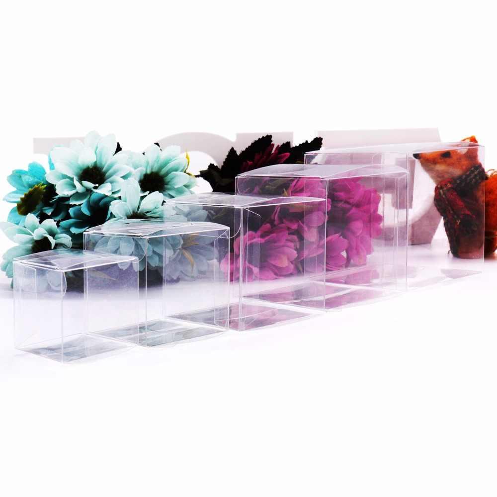 50 pçs/lote transparente claro presente caixa de doces quadrado pvc chocolate sacos caixas casamento favor festa evento decoração caja de dulces