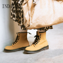 Women Boots Long Winter Leather 3cm Martin Boos