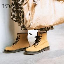 Women Boots Long Winter Leather 3cm Martin Boos