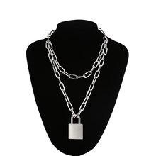 Двухслойное ожерелье цепочка с подвеской в виде висячего замка