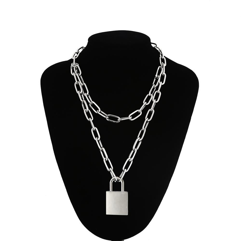 90s Double Layer Chain Necklace With Lock Women/Men Punk Rock Padlock Pendant Necklace Vintage Emo Grunge Goth Jewelry by Ali Express.Com