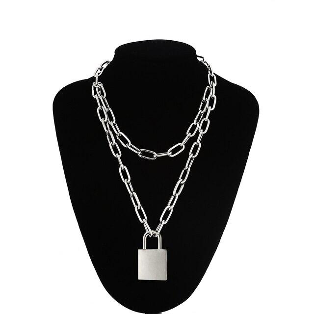 90s Double couche chaîne collier avec serrure femmes/hommes punk rock cadenas pendentif collier Vintage emo grunge Goth bijoux