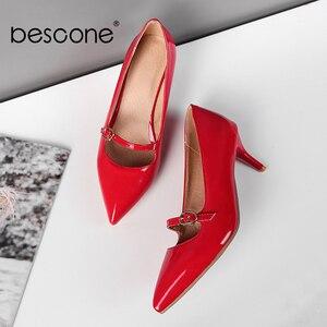 Image 4 - BESCONE moda kadın pompaları el yapımı sığ toka ince topuk ayakkabı yeni temel seksi sivri burun elbise yüksek topuk bayan pompaları BM78