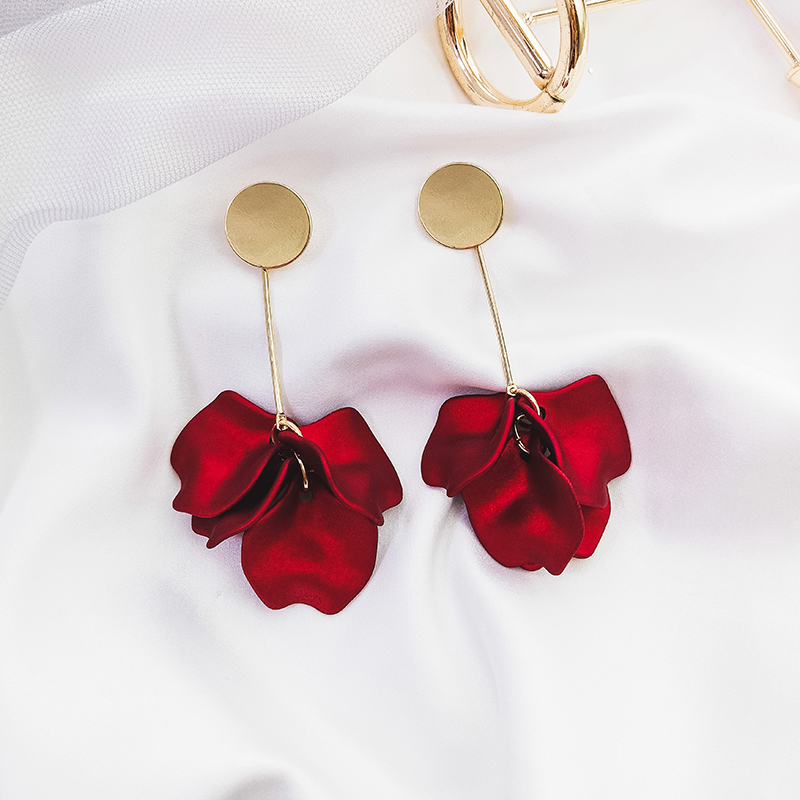 New Arrival Metal Trendy <font><b>Women</b></font> Dangle <font><b>Earrings</b></font> <font><b>Sexy</b></font> Red Rose Petal <font><b>Earrings</b></font> Moisture <font><b>Long</b></font> Eardrops Elegant Female Jewelry image