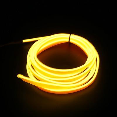 Подсветка для салона автомобиля 1 м/2 м/3 м/5 м полосы Авто Светодиодная лента гирлянда EL провод веревка украшение автомобиля неоновый светодиодный светильник Гибкая канатная трубка - Испускаемый цвет: Цвет: желтый