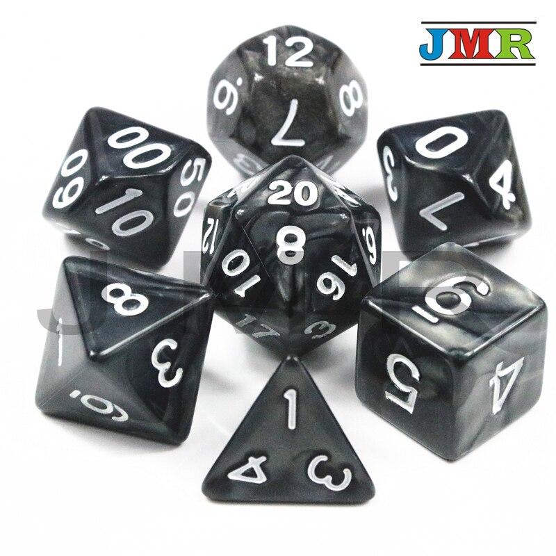 7pcs/set High Quality Marble Effect Dice Set, D4,d6,d8,d10,d10%,d12,d20 Dice Sets For Dnd Game Dice