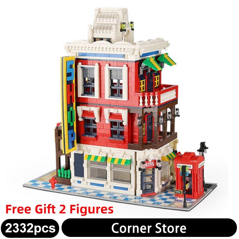 6311 2332PCS City Street View Corner shop Convenience Store Model Building Blocks Classic Architecture Toys for children Gifts