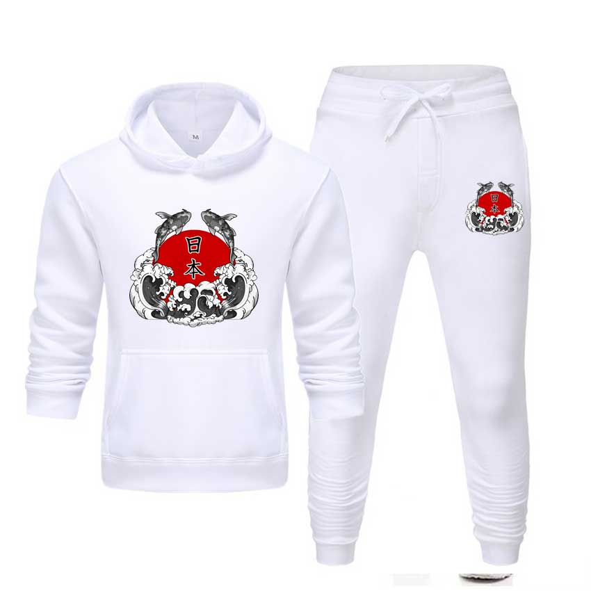 Men's Sets Japanese Hoodie Suit Warm Fleece Pullover Hoodies And Pants Sportswear Tracksuit Drop Shipping Sweatshirt Plus XS-5XL