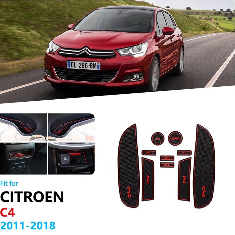 Anti-Slip Rubber Gate Slot Cup Mat For Citroen C4 2011 2012 2013 2014 2015 2016 2017 2018 MK2 C4L Accessories Car Stickers