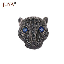 Fashion Metal Brass Micro Pave Zircon Rhinestone Panther Animal Beads Helmet Skull Space Beads for Jewelry DIY Bracelet Making(China)