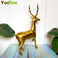 Bronze brass deer statue sika sculpture study soft home decoration business gifts