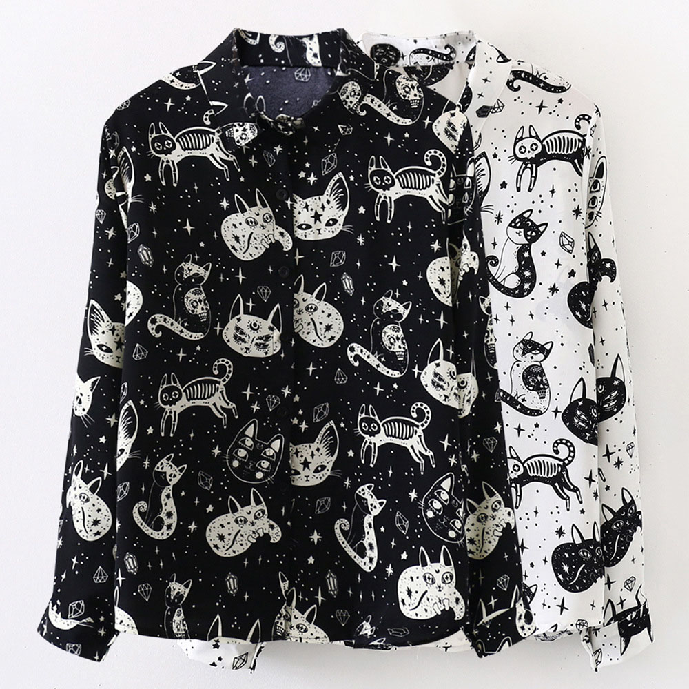 Rosetic Animal Print Black Shirt Women Blouse 2020 Gothic Streetwear Casual Shirts Spring Preppy Girl White Blouses Long Sleeve