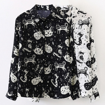 Rosetic Animal Print Black Shirt Women Blouse 2020 Gothic Streetwear Casual Shirts Spring Preppy Girl White Blouses Long Sleeve women s tops and blouses cotton white shirt line face print retro shirts with long sleeve white blouse lady spring summer xnxee