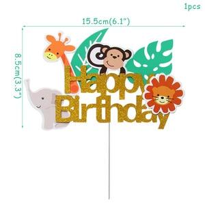 Image 4 - WEIGAO Boy Birthday Cake Decor Zoo Monkey Lion Jungle Party Cake Toppers Safari Birthday Theme Cupcake Wrappers Cake Flags Decor