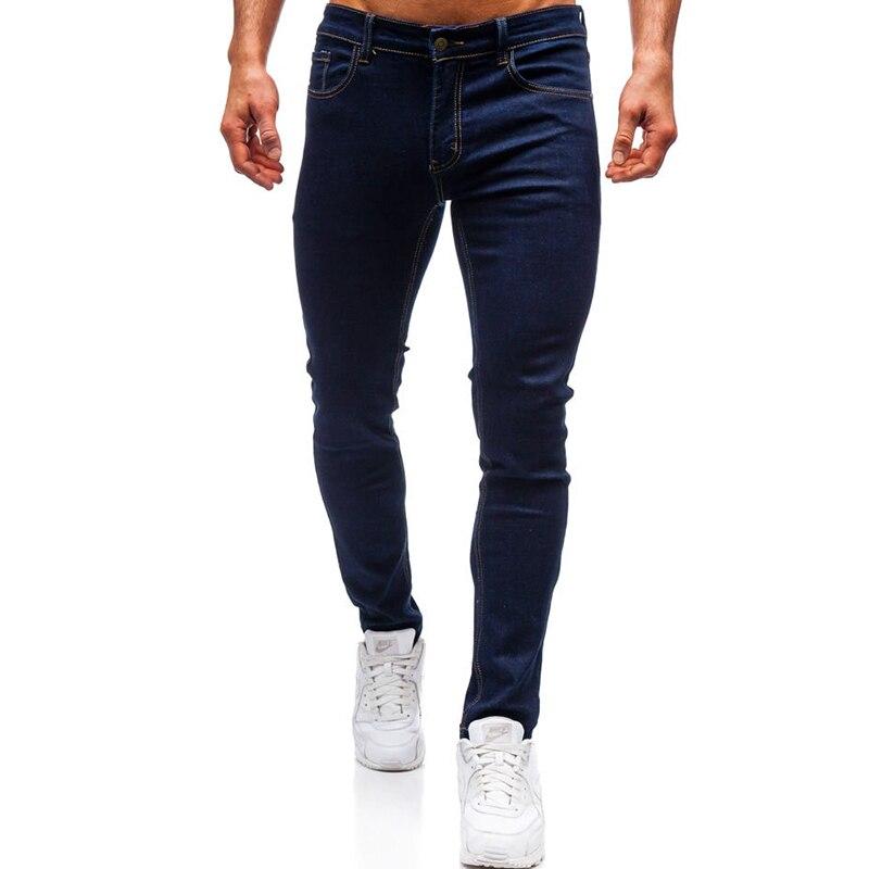 European Code Foreign Trade Men's Fashion Casual Dark Blue Jeans