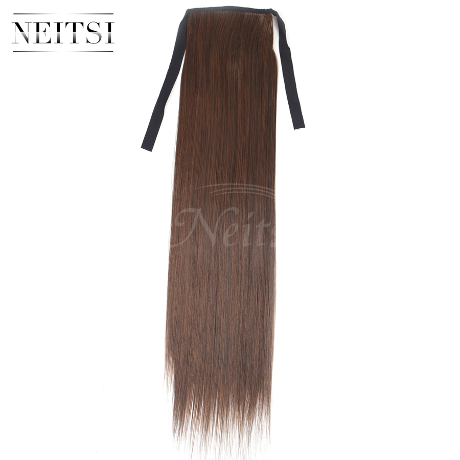Neitsi 22'' 1pc  Ponytail Clip In Hairpiece Straight  Cabelos  Pince Cheveux M2/30 Color Heat Resistant Hair Extensions