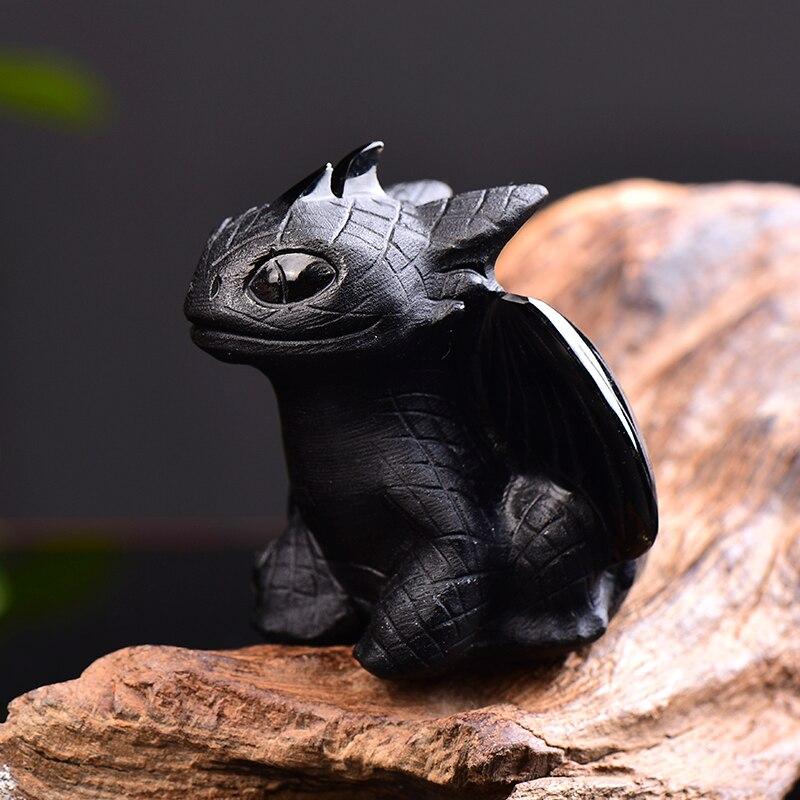 1PC obsydian naturalny ręcznie rzeźbione bezzębny smok polerowany kryształ kamień leczniczy Home decoration Art figurka kolekcjonerska rzemiosło