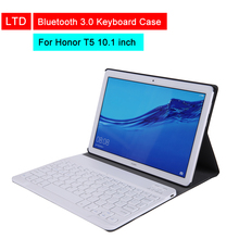 цена на Bluetooth 3.0 Keyboard Case For For Honor Tablet T5 10.1 inch Leather Flip Protective Keyboard Case With Stand Holder Function