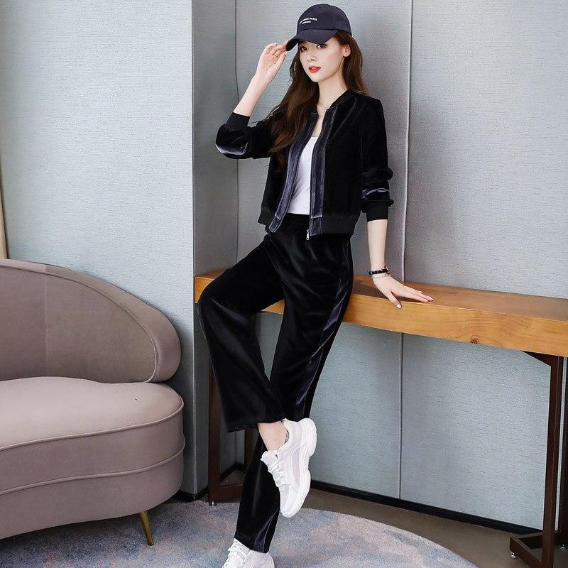 2019 Autumn Velvet Two Piece Sets Outfits Women Plus Size Jacket And Pants Suits Vintage Elegant Fashion Casual Sets Black Grey 44