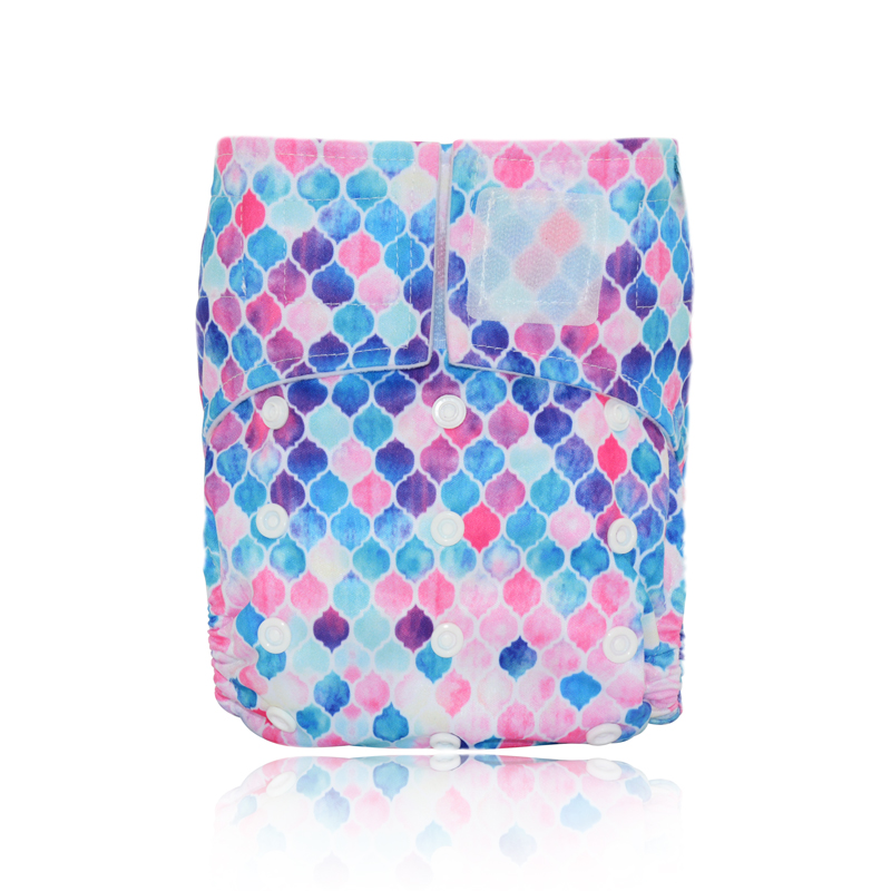 Miababy Onesize Hook&Loop Pocket Baby Gril Cloth Diaper Baby For 5-15kg Cloth Nappies Waterproof Breathable S M& L Adjustable