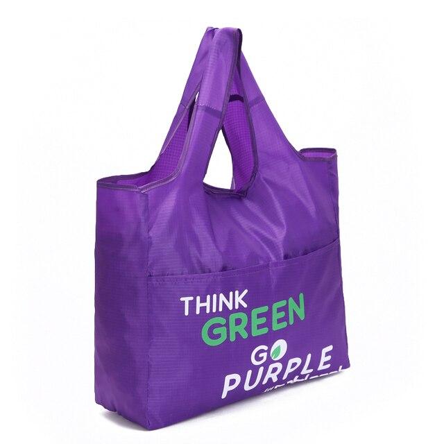 Green Reusable Shopping Bags Women Foldable Tote Bag Portable Cloth Eco Grocery Bag Folding Large Capacity Handbags 1
