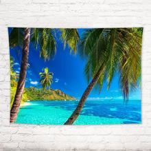 Ocean Beach Landscape Tapestry Tropical Island Palm Tree Leaves Wall Hanging Tapestry Curtain Home Decor Beach Mat Tablecloth island beach scenic wall art decor tapestry