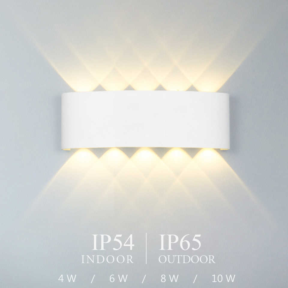 Lámpara de pared LED nórdica de aluminio impermeable para exteriores, luces de pared para porche/jardín/baño, luminaria led 4W/6W/8W/10W /12W
