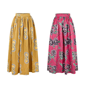 Image 5 - 2020 Women African Dashiki Elastic Autumn Winter Summer Maxi Beach Skirt Floral Print High Waist Pleated Floor Length Long Skirt