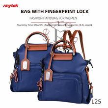 Moda bolsa para mulher anytek l25 impressão digital saco de bloqueio de viagem caminhadas anti-roubo cellhone porto de carregamento 40 impressões digitais