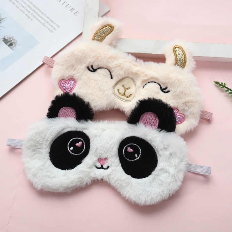 1pc macio dormir máscara de olho venda de pelúcia dos desenhos animados panda face eyeshade sono capa de olho recheado tipo ovelha viagem casa presente festa