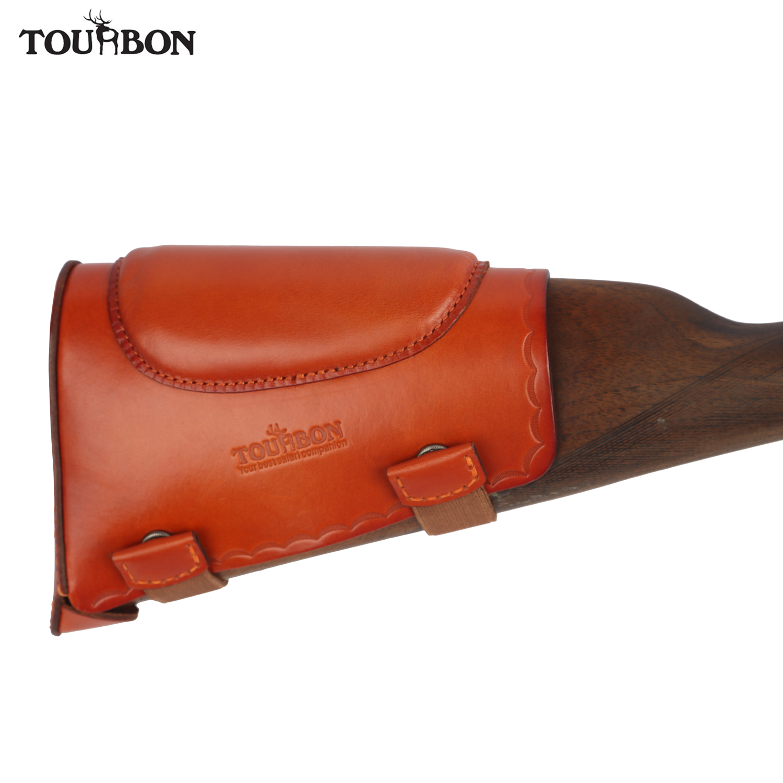 tourbon hunting tactical rifle shotgun buttstock cheek resto universal couro genuino recoil pad protetor de acessorios