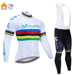 Movistar 2019 Pro Team Winter Thermal Fleece Long Clothes Set Men Cycling Jersey Bib Bike Bicycle Ropa Ciclismo Bike Clothing