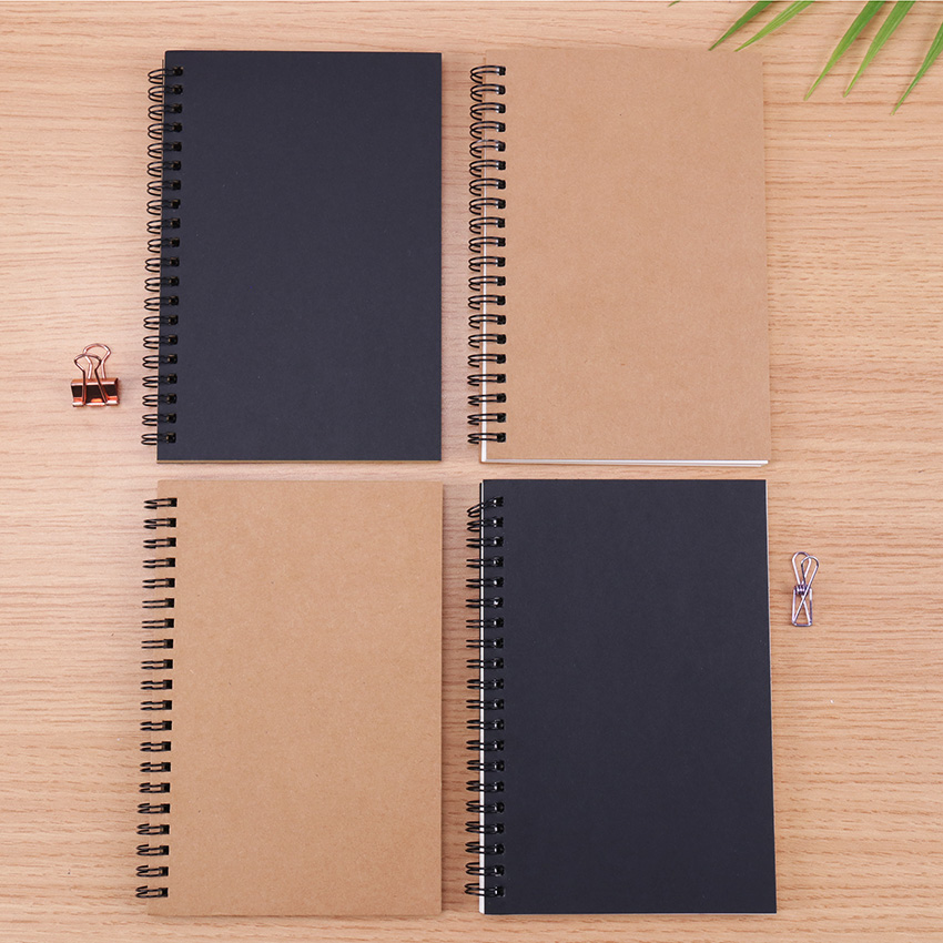 Vintage Spiral Coil Paper Notepad Drawing Painting Graffiti Soft Cover Black Paper Sketchbook Notebook Office School Supplies