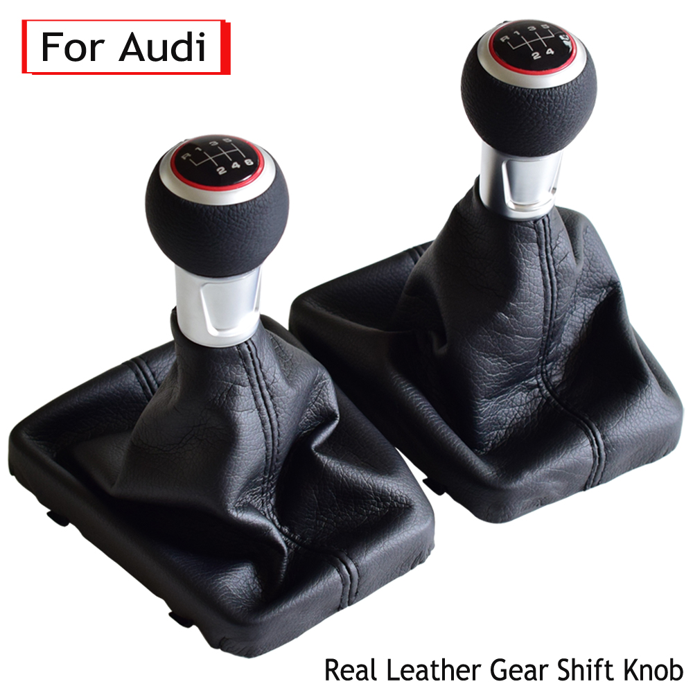 6 SPEED GEAR SHIFT STICK KNOB for AUDI S LINE A3 S3 8P LEATHER HANDLE SHIFTER