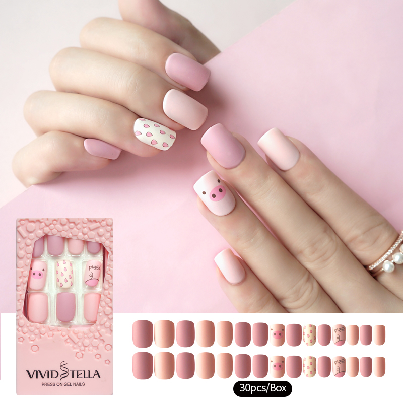 30PCS Matte Pre-glue Short Fake Nails Piggy in Pink Box Press on False Nail Tips DIY Manicure Beauty Women Nail Tools