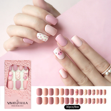 30PCS Matte Pre-glue Short Fake Nails Piggy in Pink Box Press on False