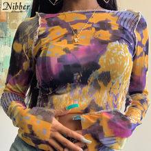 Nibber-Camisetas estampadas vintage Tie-dye para mujer, croptop sexy de tela de malla transparente, ropa de calle alta informal, camiseta ajustada para fiesta