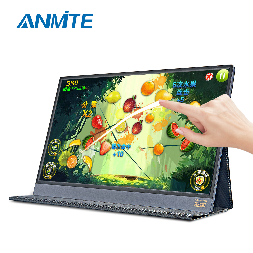 Anmite 15.6 inch IPS FHD Computer USB-C <font><b>Portable</b></font> Touch <font><b>Monitor</b></font> PC TYPE-C HDMI PS4 Xbo x360 <font><b>1080P</b></font> LED Display for Raspberry Pi image