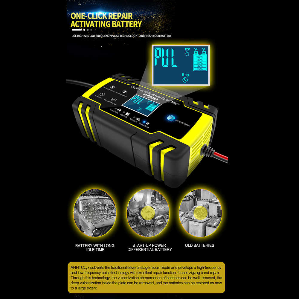 Tospra 12V 24V Motor Mobil Golf Battery Charger Maintainer & Desulfator Baterai Charger pulse Perbaikan Baterai Charger