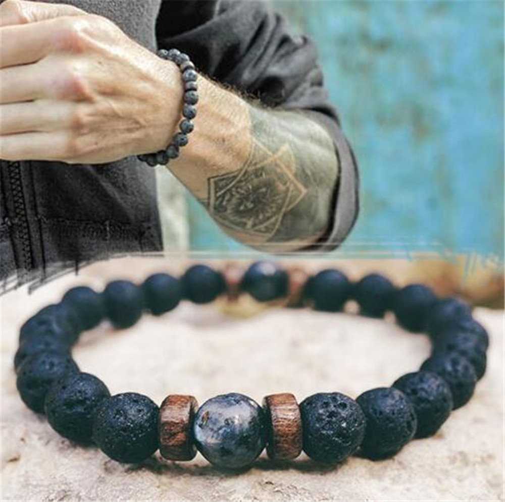 Men Bracelet Natural Moonstone Bead Tibetan Buddha Bracelet chakra Lava Stone Diffuser Bracelets Men Jewelry gift Drop Shipping(China)